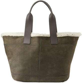 Brunello Cucinelli Brushed Tote Bag with Fur Lining