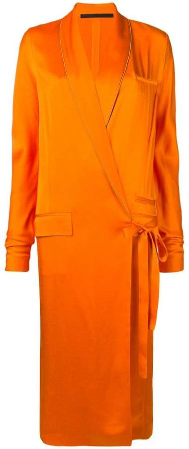 tuxedo-style wrap dress