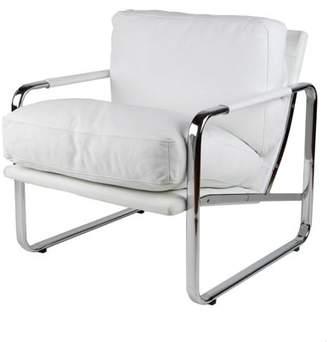 Whiteline Modern Imports Magi chair, White Faux Leather, chrome frame