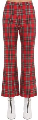 Pushbutton Flared Plaid Pants