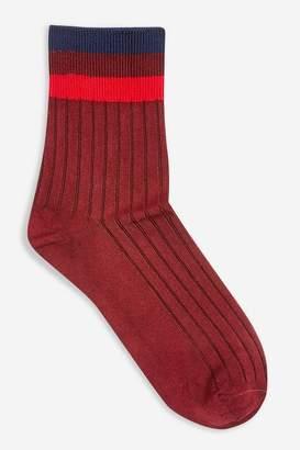 Topshop Womens Slinky Ribbed 3 Stripe Socks