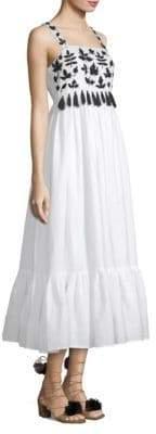 Carolina K. Terry Embroidered Tassel Midi Dress