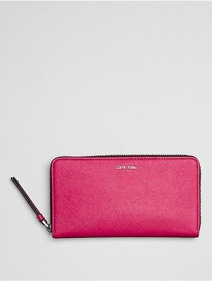Calvin Klein Calvin Klein Womens Faux Leather Large Zip Wallet Bright Rose