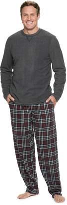 Chaps Big & Tall Fleece Tee & Plaid Flannel Lounge Pants Set