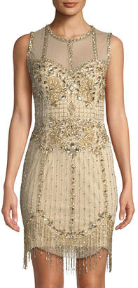 Aidan Mattox Sleeveless Rhinestoned Illusion Cocktail Dress
