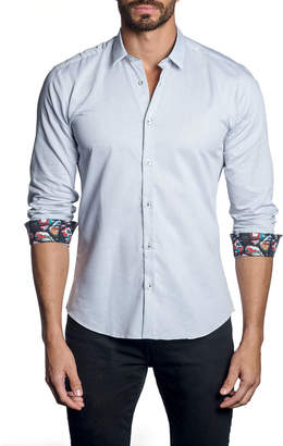 Jared Lang Men's Check Pattern Sport Shirt w/ Comic Book Cuffs, White
