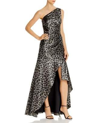 Aidan Mattox One-Shoulder Leopard Jacquard Gown