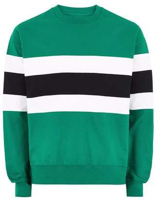 Topman Mens Teal Green Panel Sweatshirt