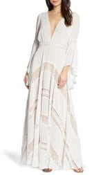 BY WATTERS Chevron Lace Long Sleeve Wedding Dress