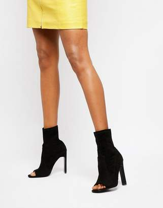 Public Desire Craze black open toe sock boots