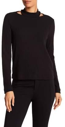 Splendid Shoulder Slit Ribbed Knit Sweater