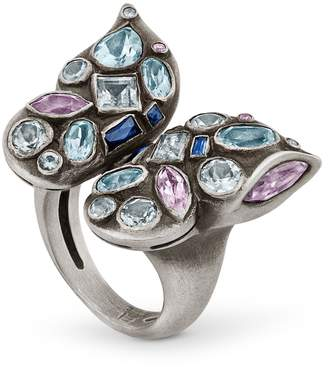 Snake Bones - Butterfly Ring with Gemstones in Sterling Silver