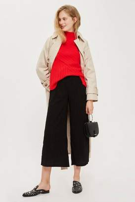 Topshop Tall Textured Wide Leg Trousers