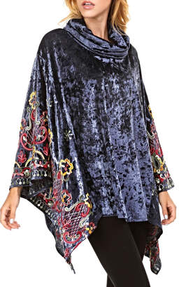 Adore Velvet Embroidery Poncho
