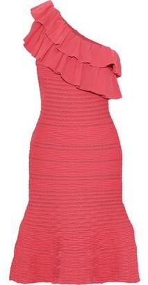 Rebecca Vallance Chiara One-Shoulder Ruffled Pointelle-Knit Dress