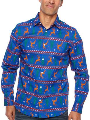 Co North Pole Trading Jingle Shirt Long Sleeve Woven Holiday Dress Shirt