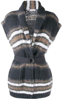 Brunello Cucinelli striped sleeveless cardigan