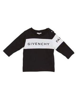 Givenchy Boy's Long-Sleeve Colorblock Logo Tee, Size 12M-3
