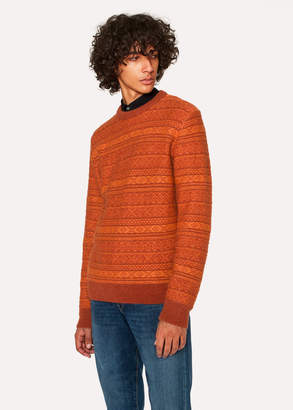 Paul Smith Men's Orange Fair Isle Wool-Blend Sweater