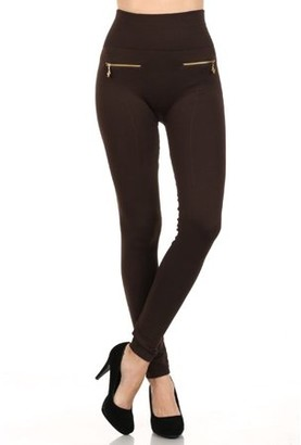 Fashionable K-Cliffs Women's Fleece Leggings in Solid Color with 2 Gold zippers & seams on Front, Coffee