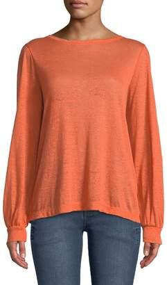 Donna Karan Boat-Neck Long-Sleeve Linen Pullover Top
