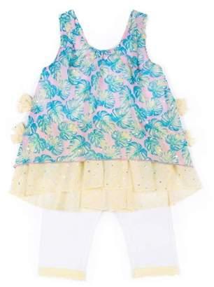 Little Lass Toddler Girl Chiffon Tank Top & Capri Leggings, 2Pc Outfit Set