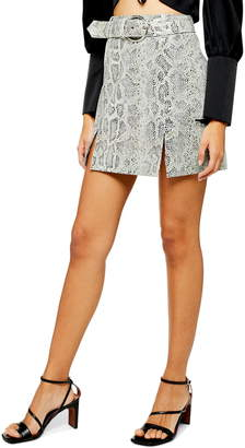 fbbee99b9f Topshop Snake Print Belted Leather Miniskirt