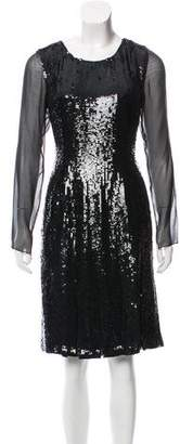 Oscar de la Renta Sequined Silk Dress