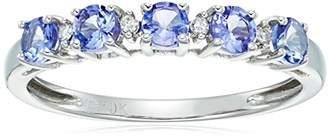 10k White Gold Tanzanite and Diamond Accented Stackable Ring