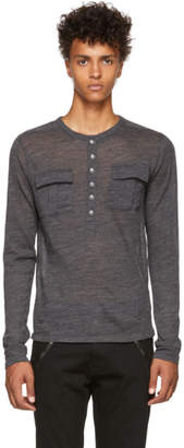 Balmain Grey Long Sleeve Tunisian T-Shirt