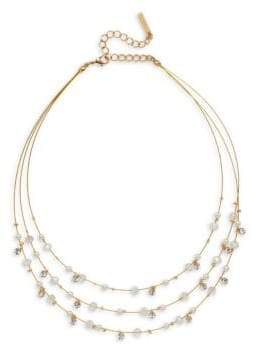 Cezanne Crystal and Faux Pearl Illusion Multi Strand Necklace