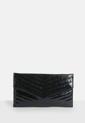 Missguided Black Quilted Metallic Clutch