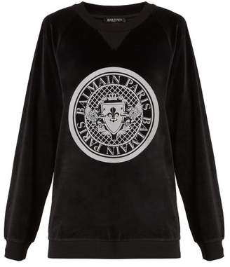 Balmain Printed Crest Cotton Velvet Sweatshirt - Womens - Black White