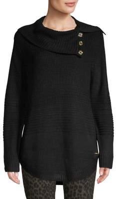 Calvin Klein Cowl-Neck Ribbed Sweater