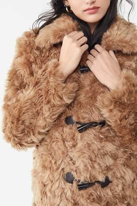 AVEC LES FILLES Faux Fur Toggle Coat