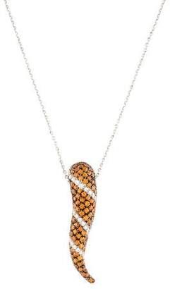 18K Citrine & Diamond Horn Pendant Necklace