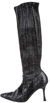 Manolo Blahnik Snakeskin Knee-High Boots