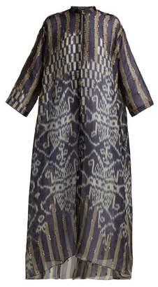 Biyan - Hyrakel Silk Organza Trapeze Coat - Womens - Navy Print