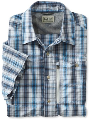 L.L. Bean L.L.Bean Men's Cool Weave Shirt, Short-Sleeve Plaid