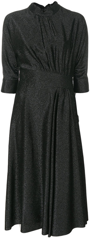 Prada draped glitter midi dress