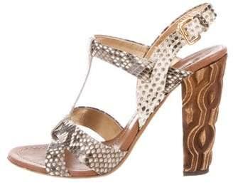 Miu Miu Snakeskin T-Strap Sandals
