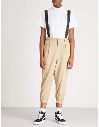 N. Braces-trimmed tapered cropped stretch-cotton trousers