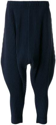Issey Miyake Homme Plissé dropped crotch tapered trousers