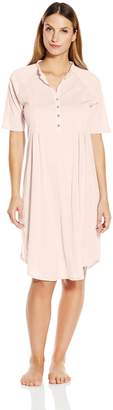 Hanro Women's Cotton Deluxe Short Sleeve Button Front Gown