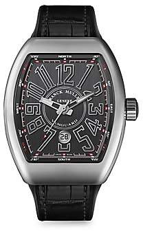 Franck Muller Women's Vanguard Stainless Steel & Croc-Embossed Leather Strap Watch