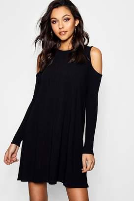 boohoo Cold Shoulder Soft Knit Rib Swing Dress