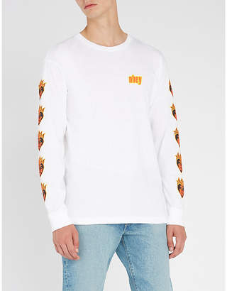 Obey Be Mine printed cotton-jersey top