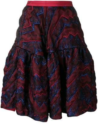 Talbot Runhof quilted metallic thread skirt