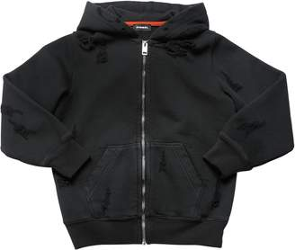 Diesel Zip Destroyed Cotton Sweatshirt Hoodie