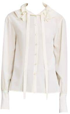 Chloé Ruffle Collar Tie-Neck Silk Blouse